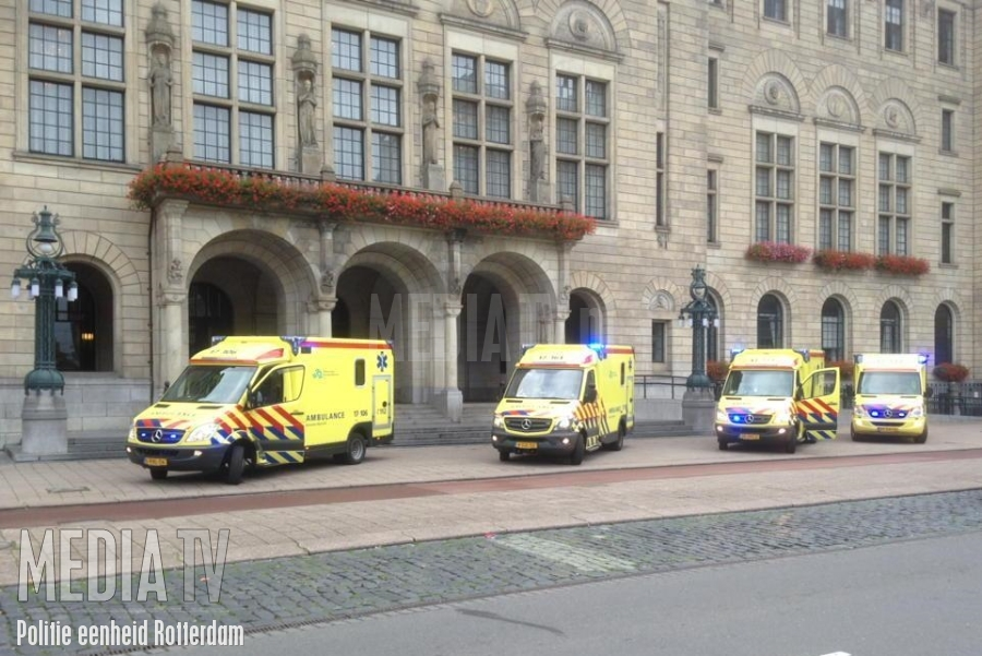 CAO-protest ambulancepersoneel in Rotterdam