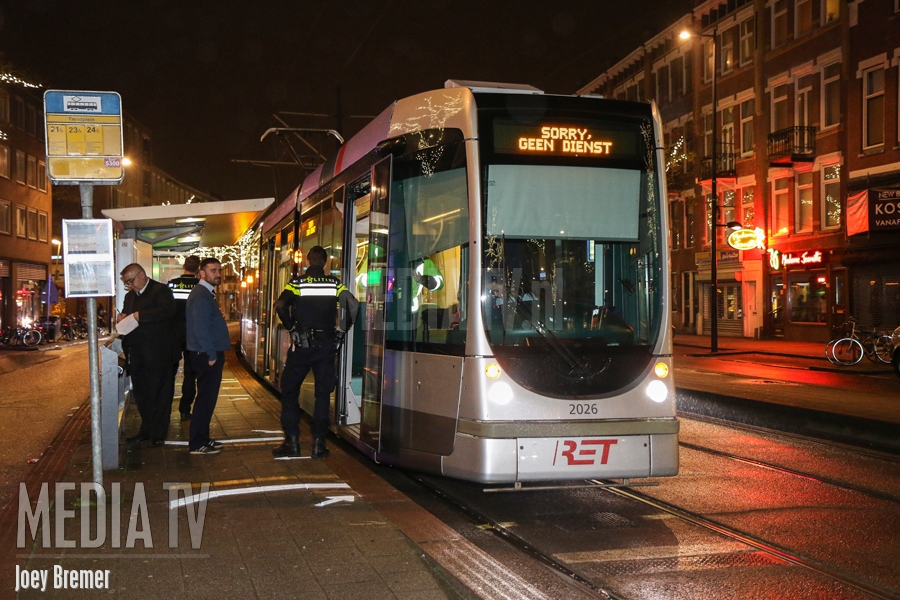 Conductrice overvallen in tram Tiendplein Rotterdam (video)